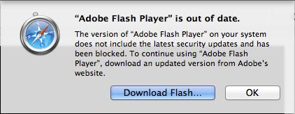 http://news.cnet.com/8301-13579_3-57572176-37/apple-now-blocks-older-versions-of-adobes-flash-player-in-safari/    A new security update from Apple blocks outdated versions of Adobe's Flash plug-in, forcing users to nab the newest version.    Apple has tightened up security in its Safari Web browser following recent patches to Adobe's Flash    Get more info:  http://chirpstory.com/li/55958…