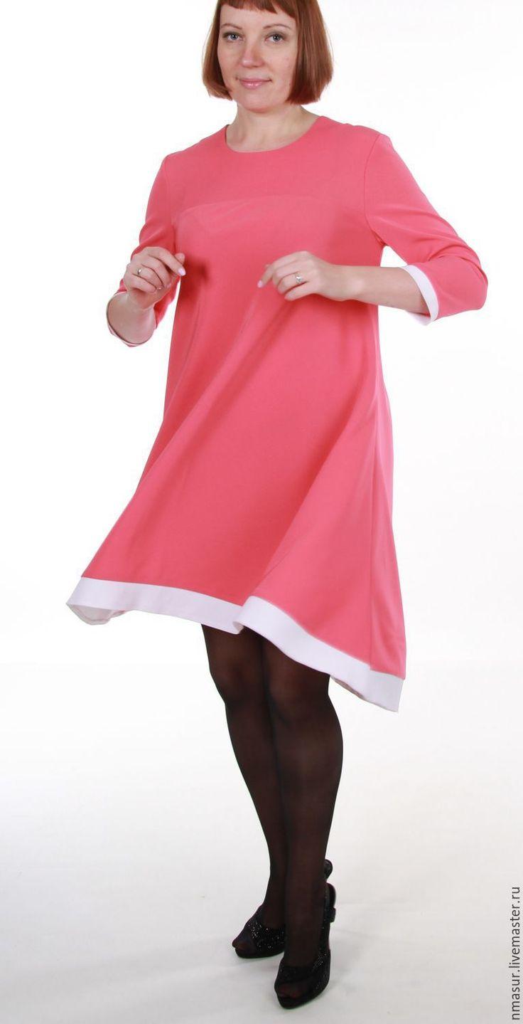 """Купить Широкое платье """"Розовый коралл"""" - платье на каждый день, платье на осень, платье на праздник"""