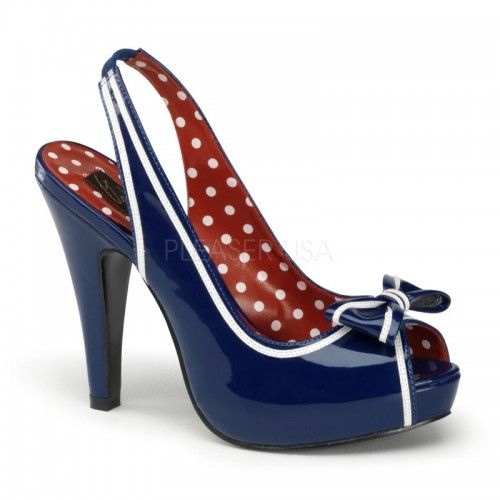 Pin Up Couture High Heel Sandal BETTIE-05 Navy Blue Patent