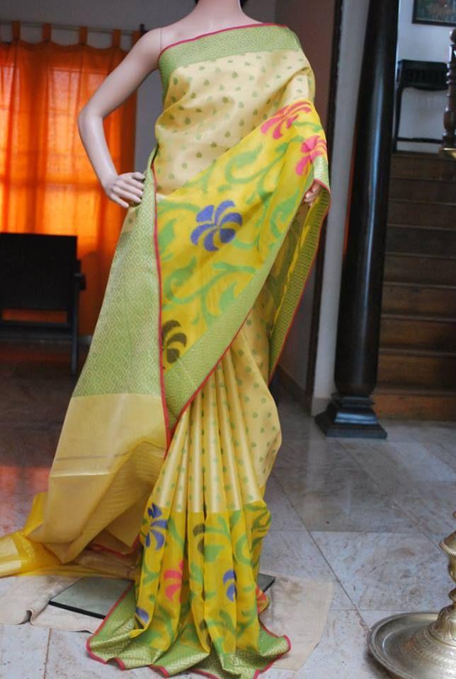 Banaras Tissue Kora Skirt Style Thread Woven Silk Saree