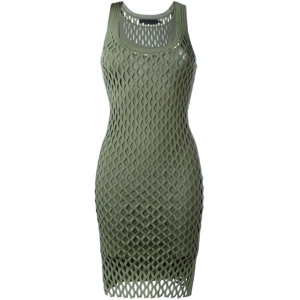 Alexander Wang open knit dress ($590) ❤ liked on Polyvore featuring dresses, dresses/gowns, green, layered dress, alexander wang dresses, no sleeve dress, straight dress and form fitted dresses