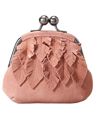 feather leather coin purse