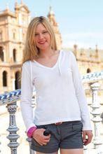 Picture of Dames T-shirt lange mouw met Capuchon en V-hals White