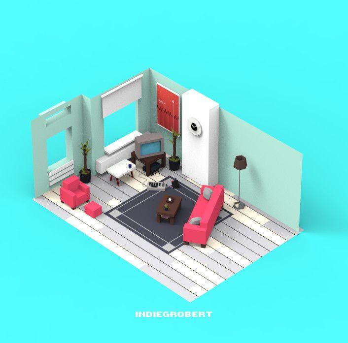 ArtStation - Isometric room2, ruimin zhu