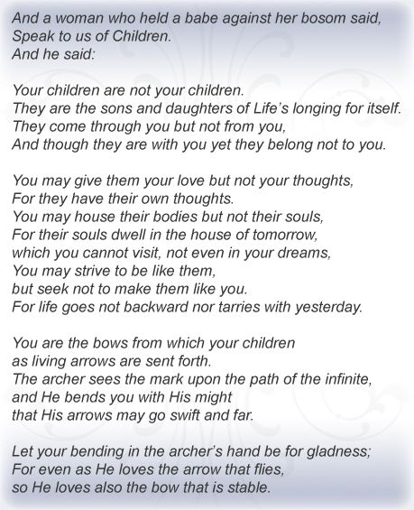 Khalil Gibran Quotes - Bing Images: Quotes On Children, Quotes Inspiration, Gibran Poems, Death Quotes25, Children Poems, Life40 Quotes, Khalil Gibran Quotes, Khalil Gibran Children, Gibran