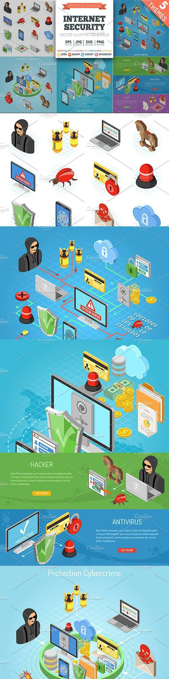 Internet Security Isometric Theme #icon #technology #IconDesign #TechnologyIcons #BestIcons #IconSet #creativemarket #GraphicDesign #design #graphics …