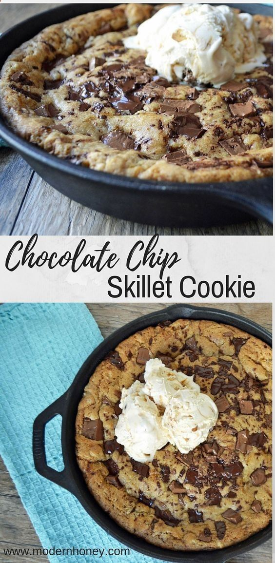 Lady's Chocolate Chip Skillet Cookie is a warm, ooey, gooey chocolate chip cookie topped with vanilla bean ice cream. It all starts with browning the butter in a cast iron skillet and adding both white and brown sugar, then stirring until nice and smooth. It will look like smooth caramel and smells like homemade toffee. A pizookie or skillet pizza cookie is basically a cookie shaped like a pizza and is one famous dessert. This is the BEST chocolate chip skillet cookie pizookie recipe e...