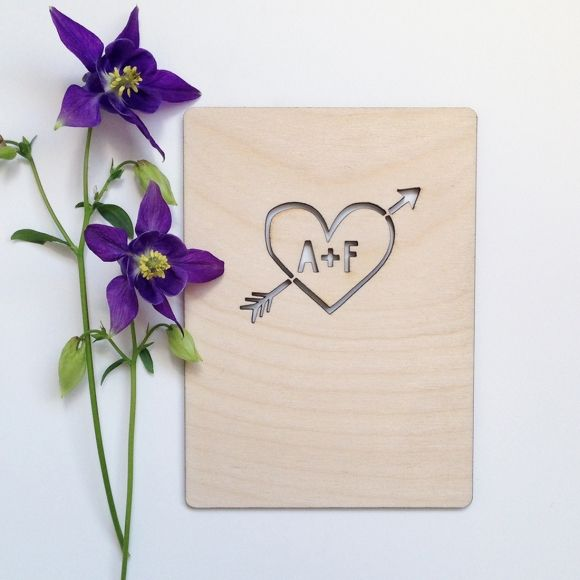 Personalised heart wooden card