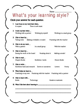 Learning Style Survey {Freebie}!