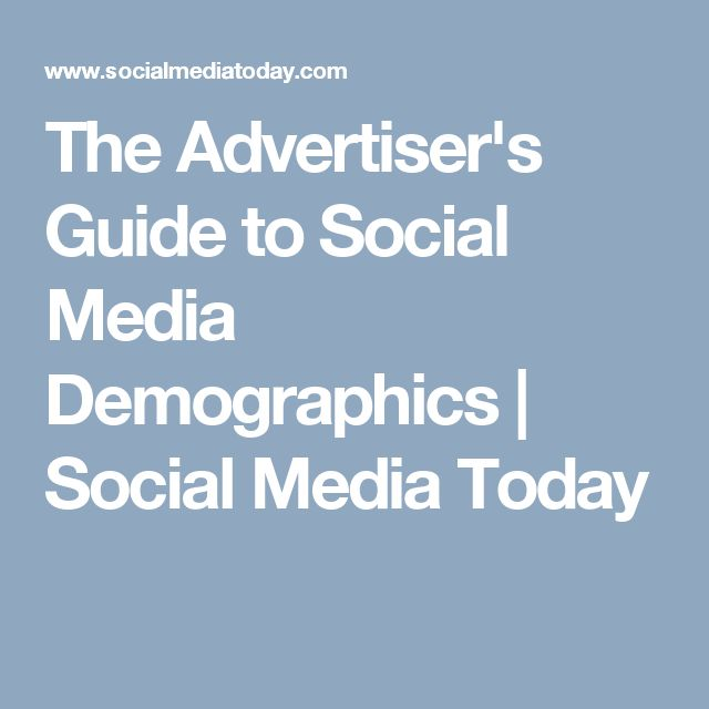 The Advertiser's Guide to Social Media Demographics | Social Media Today