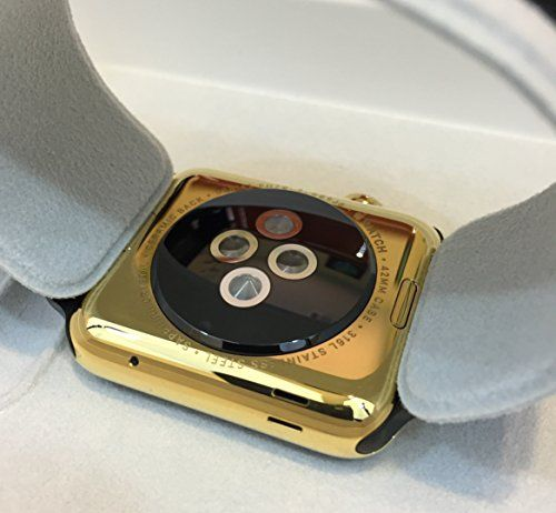 42MM Apple Watch 24K Karat GOLD plate w/ Black Milanese Loop   PRODUCT Original Apple Watch Gen 1 stainless steel customized and professionally gold plated by De Billas with an industrial grade of authentic 24 Karat Gol