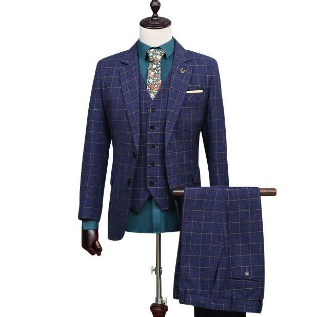 (Coat+Pants+Vest) Royal Blue Plaid Suit Slim Fit Males Formal Party Suit Customized Wool Homem Terno NA04 Cheap Blazer Jackets