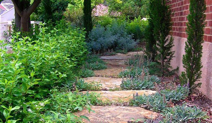 Garden path; stone slabs