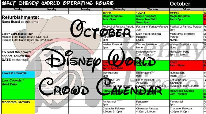 2015 October Disney World crowds calendar, park hours, show schedules, fastpass dates, dining booking dates, best parks Updated 3/16/2015 October 2015 starts off as a warm month and begins to cool...