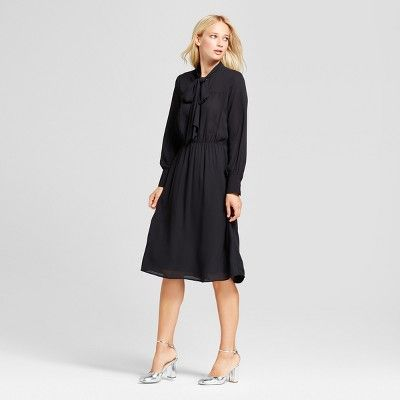 Women's Bow Tie Midi Dress - Who What Wear™ Black XS : Target