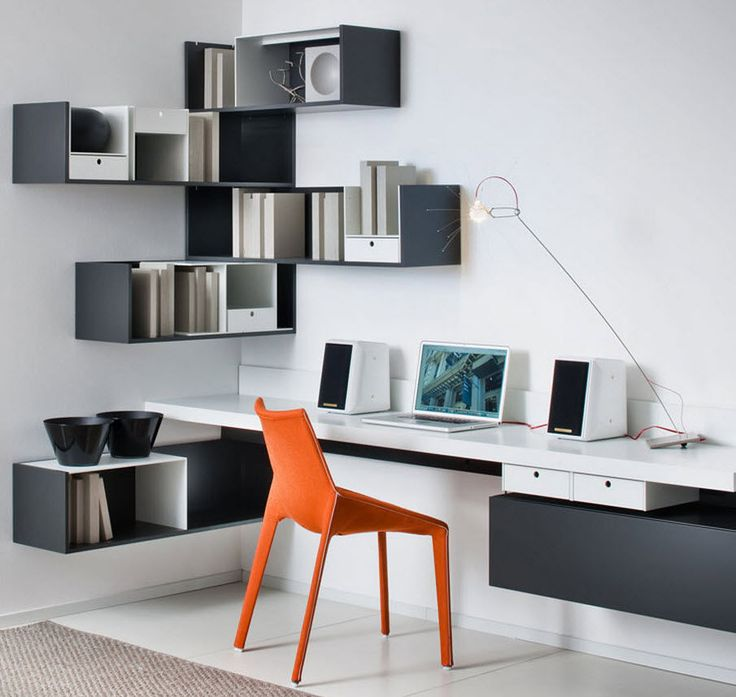 Create an office space with built-in storage - as small as a corner of a room, or as big as you like!  Fortepiano Shelving & Storage System by Molteni & C from Campbell Watson.  http://www.campbellwatson.co.uk/superbasket/product/20648/Fortepiano+Shelving+%26+Storage+System+Molteni+%26+C