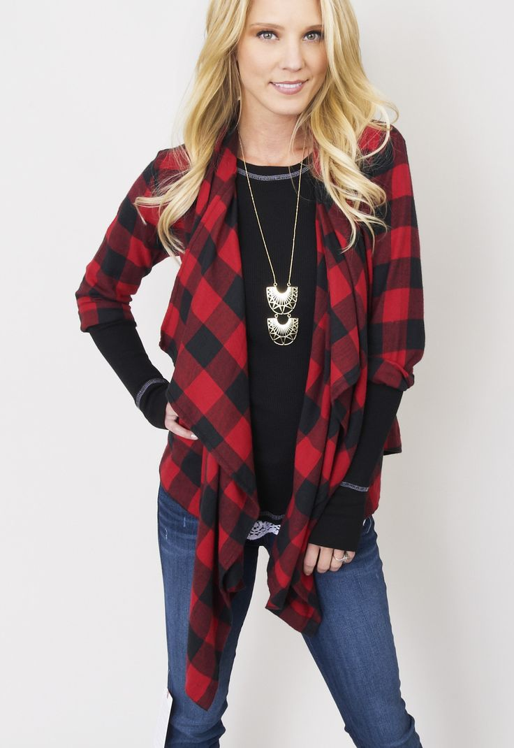 Flannel Wrap top >> cute! Obsessed!  Loving wearing this right now! www.shopmama.com