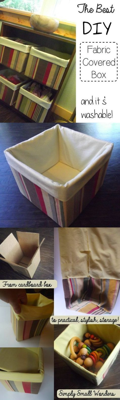 Fabric covered boxes with removable covers. Quick, cheap, easy storage ideas using a regular cardboard box.