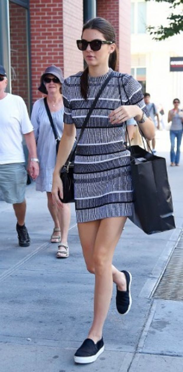 Kendall Jenner x Street Style x Printed Sweater Dress x Slip On Sneakers