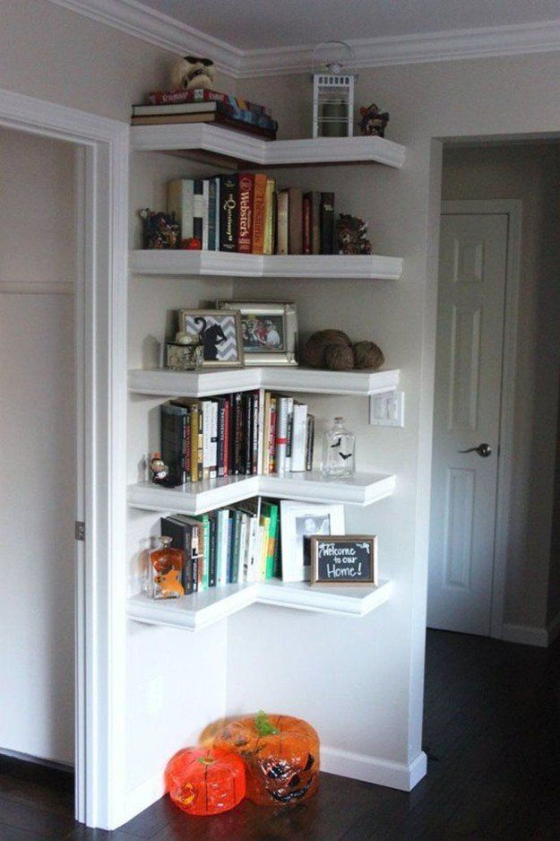 diy home projects for small spaces corner bookshelvescorner shelvingbook shelvesshelving ideascorner storagewall mounted - Wall Hanging Book Shelf