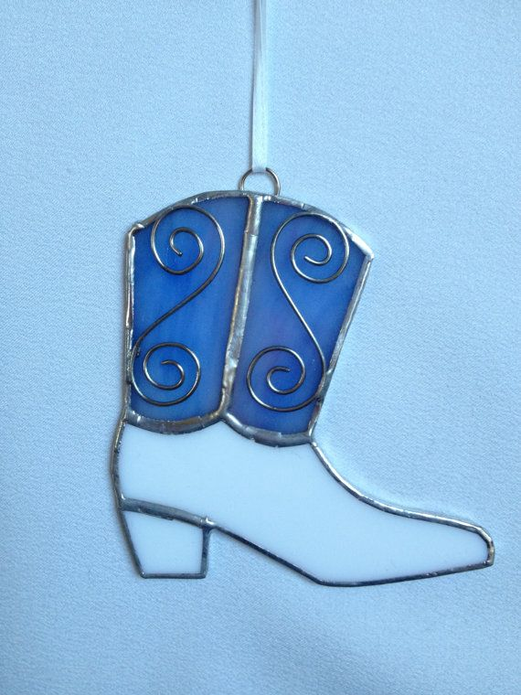 Stained Glass Christmas Ornament: Lavender Texas Blue and White Boot by MamaAgees, $7.50