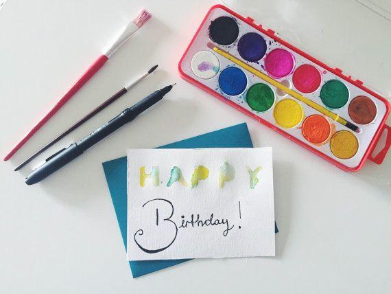 Handmade Watercolor Happy Birthday Card by Colortastico on Etsy