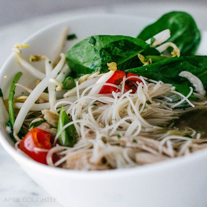 Instant Pot Chicken Pho Soup Recipe made in only 35 minutes with Pho spices, lime, cilantro, tomatoes, hoisin, bean sprouts, and more yummy ingredients