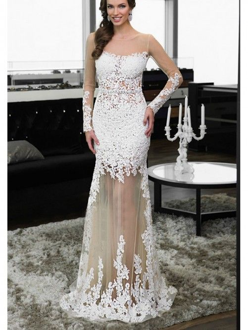 Sheath/Column Scoop Long Sleeves Applique Tulle Floor-Length Dresses