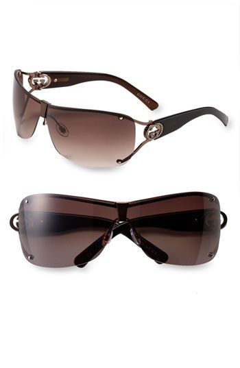 Gucci Shield Sunglasses with Crystal Logo Detail