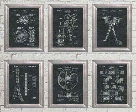 Home Theater Decor Patent Art Hollywood Wall Art Movie Poster Film