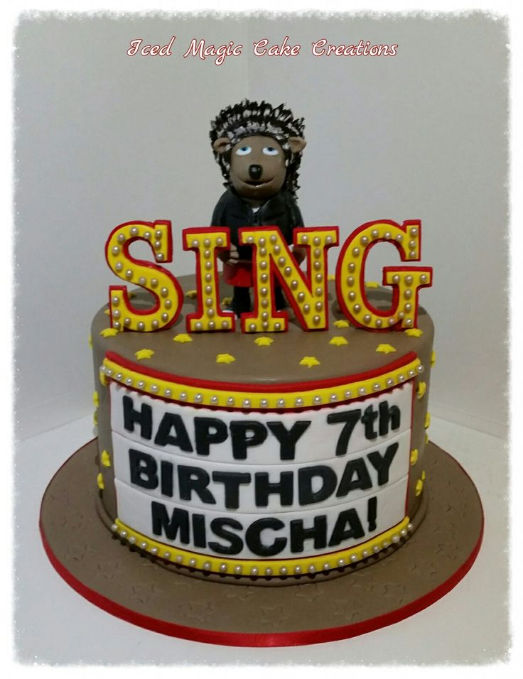 SING the movie cake with Ash cake topper www.facebook.com/icedmagiccreations