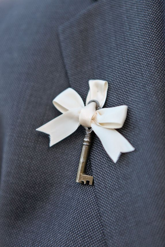Ribbon And Skeleton Key Boutonniere