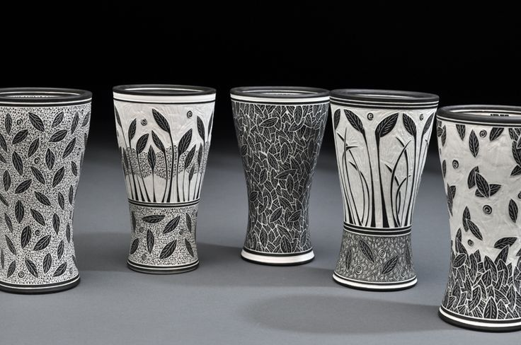 lloyd pottery sgraffito cups black and white with leaf designs