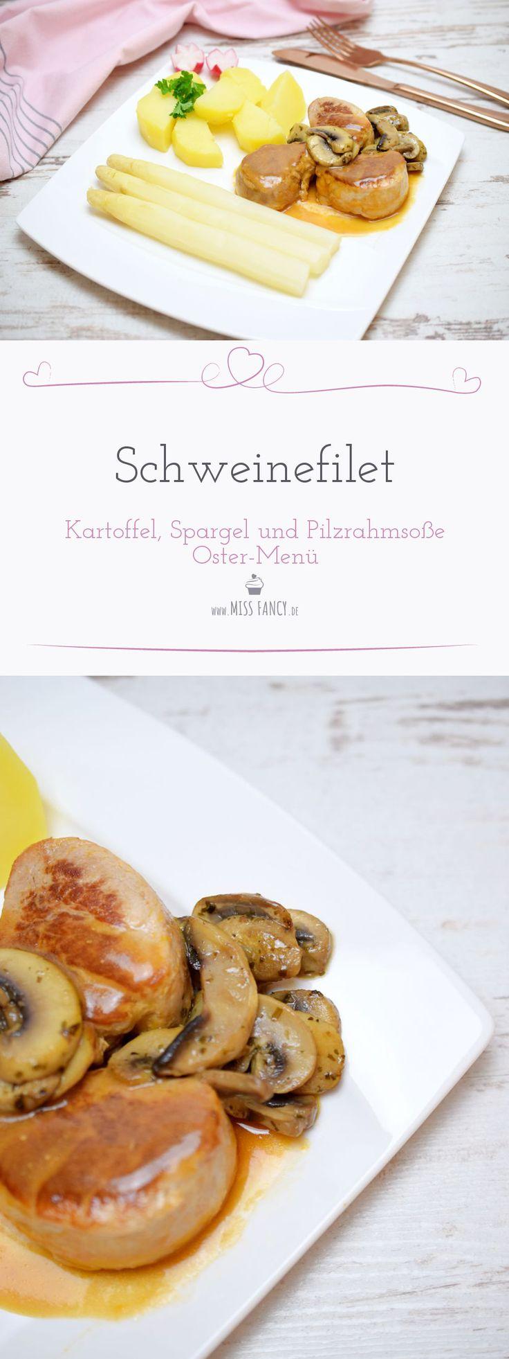 Oster-Menü Schweinefleisch mit Kartoffeln, Spargel und leckerer Pilzrahmsoße