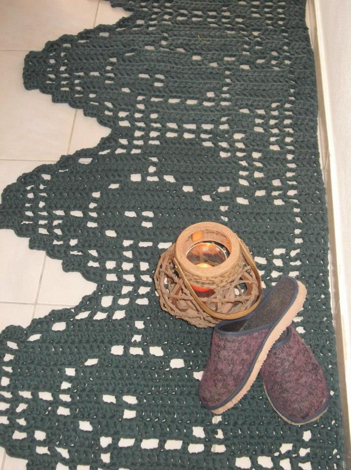 Tapete em crochet de trapilho
