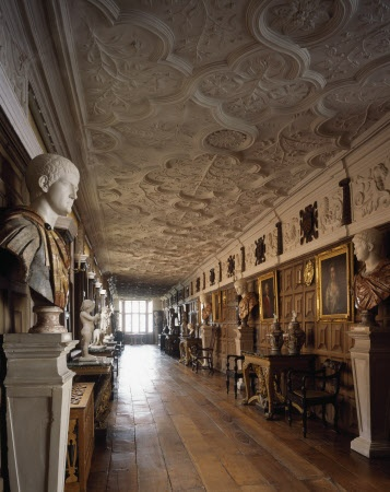 Sculpture in the Long Gallery at Powis Castle, Powys, Wales