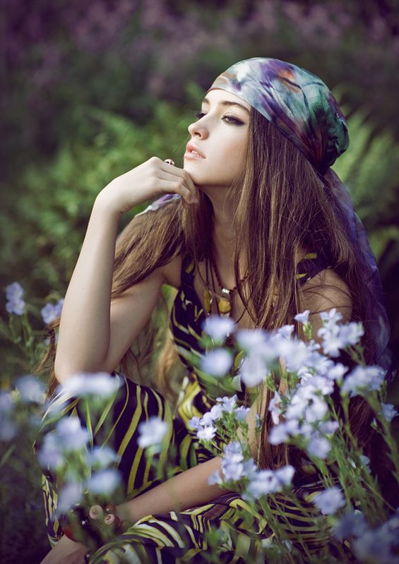 Reflective poseHead Wraps, Headscarf, Hippie Style, Hippiefashion, Boho, Flower Children, Fashion Photography, Head Scarf, Hippie Fashion