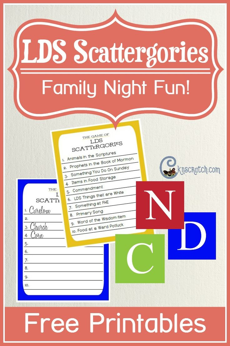 Play LDS Scattergories for Family Night Family home