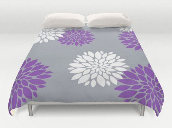 Grey Purple Duvet Floral Duvet Cover Modern Bed Cover King