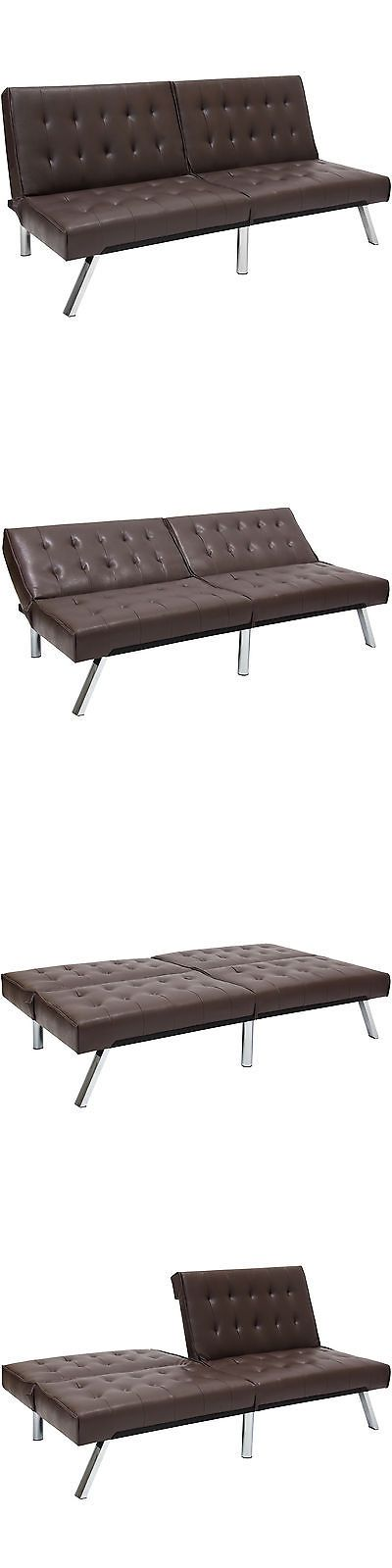 Futons Frames and Covers 131579: Modern Leather Futon Sofa Bed Fold Up Down Couch Recliner Lounger Sleeper Brown -> BUY IT NOW ONLY: $145.69 on eBay!