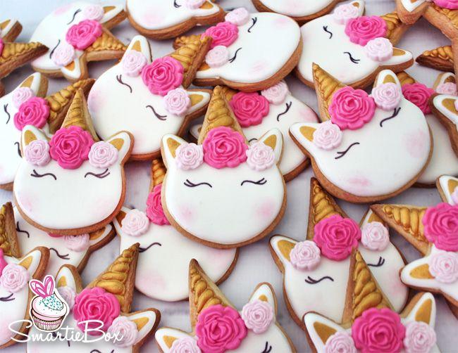 Pink, white and gold unicorn cookies - SmartieBox Cake Studio