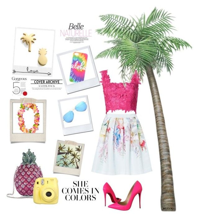 """❣She Comes In Colours❣"" by ordinary-fashion on Polyvore featuring moda, Seoul Little, Ted Baker, Monique Lhuillier, Polaroid, Judith Leiber, Christian Louboutin ve Ray-Ban"