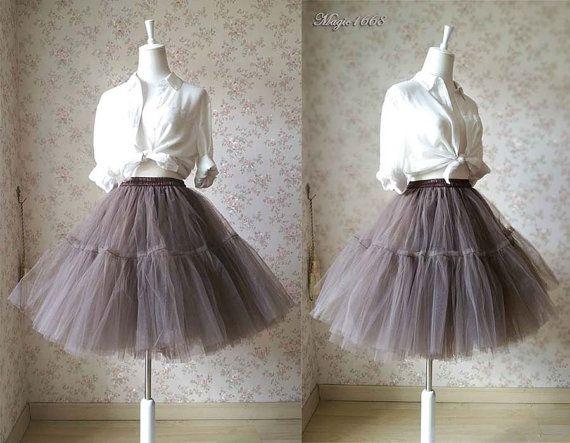 Cognac Skirt. Women Tulle Skirt. Knee Length Tulle by magic1668