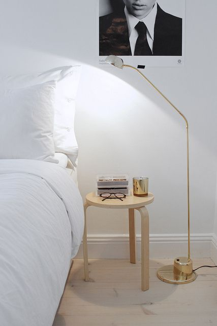 I like this stool bedside table idea. I'm sure this from ikea but I can't find it on the website.