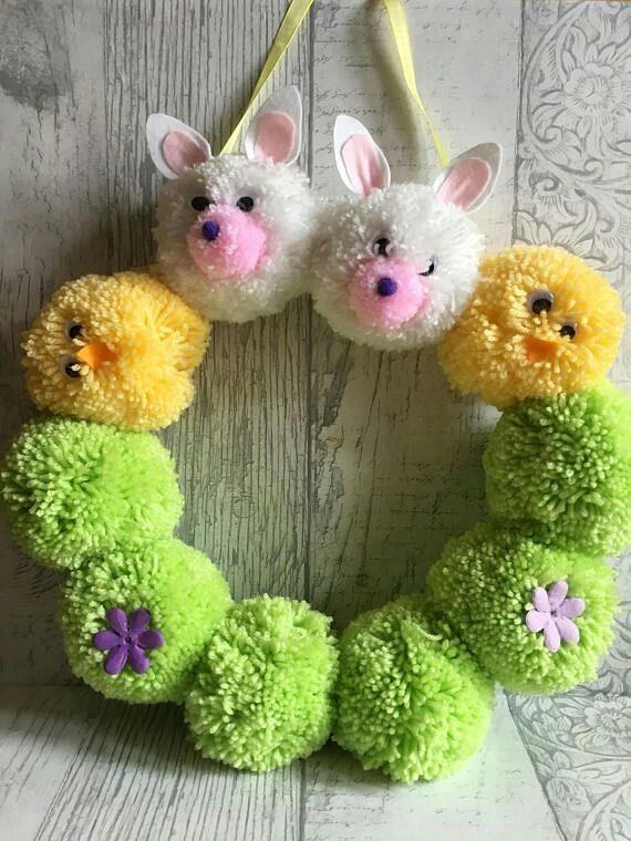 Easter Pom Pom Wreath Eastercrafts Easterfun Easterideas