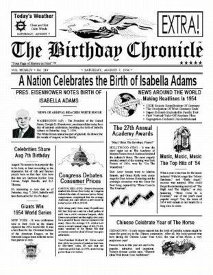 Unusual image intended for free printable birthday newspaper
