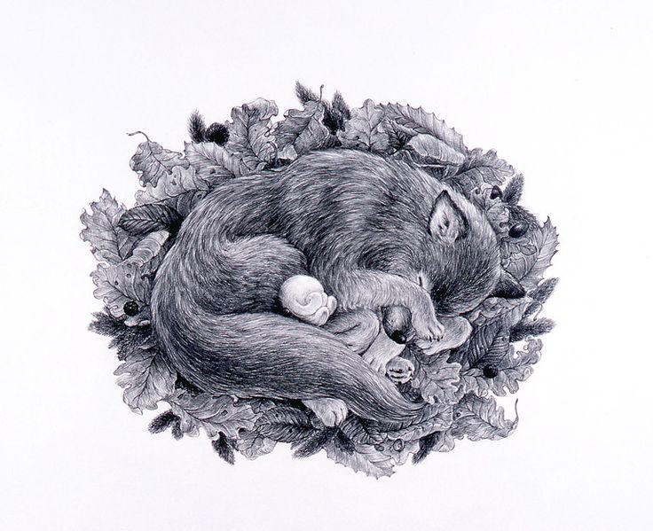 Tomoko Konoike Autumn – six legs wolf and mimio pencil on paper 53.8 x 78cm 2005 秋 - 六本脚狼&ミミオ