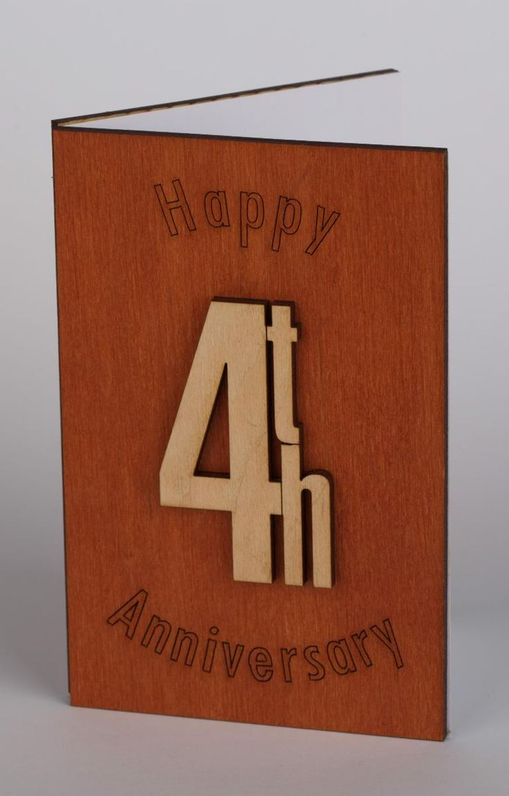 4th, 4, 4 Years Happy Anniversary Card - Original Anniversary Gift For Him, Husband, Man, Her, Wife, Parents, Friends (Wood Work)