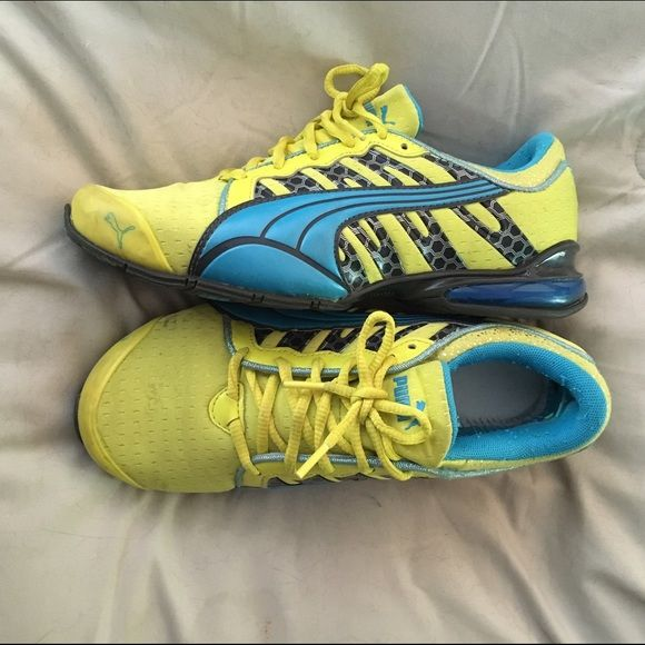 Bright Puma Tennis Shoes Neon yellow and blue • Puma • Pre-loved with a lot of life left • Stain on left shoe - could be removed very easily • No insoles (used my own and discard originals) • Price reflects all of these things Puma Shoes Athletic Shoes