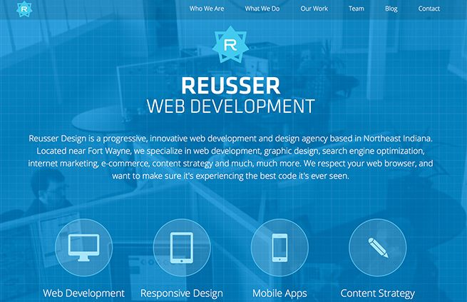 Responsive website of Reusser Design, a web development agency in Fort Wayne Indiana